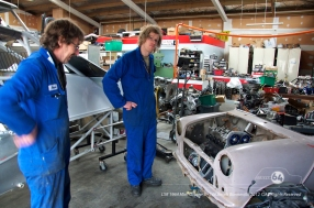 Bryan and Nelson Hartley test the Cooper's motor for fit. Photo by Mike Wilson ©2012. All Rights Reserved.