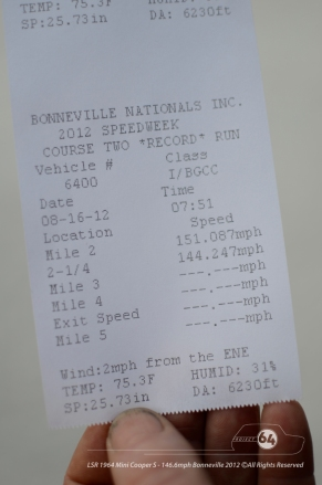 Here's the proof. 151.087mph averaged on mile 2. Photo by Mike Wilson ©2012. All Rights Reserved.