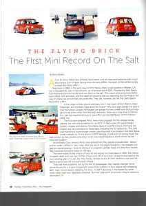 Page two of an article from MC2 Magazine about the previous fastest Mini record holder at Bonneville Speedway.